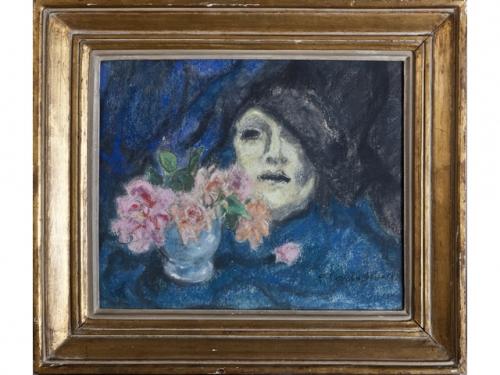 Masque et bouquet de fleurs, 1938..jpg