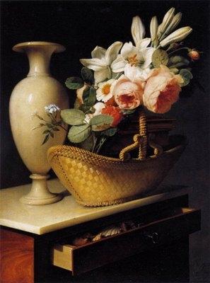 NATURE MORTE Still-Life with a Basket of Flowers d'Antoine BERJON 1814.jpg